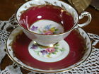 PARAGON FANCY TEA CUP AND SAUCER RUBY FLORALS AND LUSH GOLD GILT TRIM!