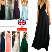 UK Infinity Gown Dress Multi-Way Strap Wrap Convertible Maxi Dress Party Wedding