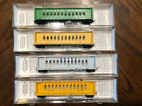N scale, Various, Micro Trains  Center Beam Flat Cars, various roads & loads