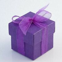 50 Hot Purple Square Boxes & Lids Wedding Favour Boxes
