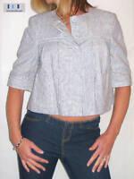 NEW (5041) ladies stripe jacket blue white size 8-18