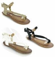 WOMENS FLAT VELCRO  STRAPPY TOE POST SANDALS SIZE 3-8
