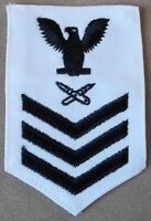 US Navy Lithographer E-6 Petty Officer 1st Class Female White Cotton Rate