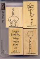 BIRTHDAY BEST SET 4 Rubber Stamp STAMPIN UP RETIRED