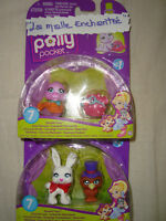 LOT N°2 : 2 COFFRETS POUPEE POLLY POCKET DUO ANIMAUX