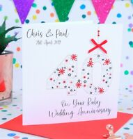 Personalised Handmade Ruby Wedding Anniversary Card