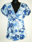 JEANSWEST ladies blue/green/white floral cotton top size S