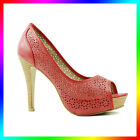 Trendy Lady Red Stiletto Platform Women High Heel Pump Peep Toe Shoes Size 6-11