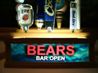 BEARS LIGHTED 7 BEER TAP HANDLE HOLDER W/ BUILT IN BAR SIGN