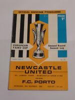 Newcastle United v F C Porto 26.11.1969 Fairs Cup  Programme
