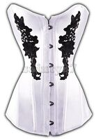 Sexy White & Black Floral Lace Pattern Overbust Burlesque Corset Top STEAMPUNK