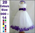Flower Girl Dress Rose Petals Pageant Party Dress Size 000 to 14 Birthday Dress