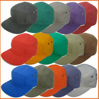 100% Cotton Flat brim Old School 5 Panel Baseball Army Hat Cap Skate Style Visor