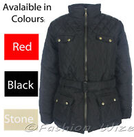 Ladies Padded Diamond Quilted Jacket Red Black Stone Size 8 10 12 14 16 18 20 22