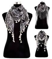 100% Cotton Light Weight Triangle Scarves With Floral Motif - Various Tassles