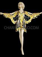 GOLD SEQUIN Burlesque Drag Queen butterfly Dance dress