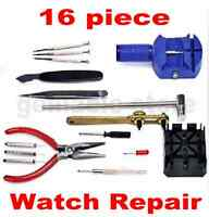 16 Piece Horologe Watch Repair Remover Link Opener Screwdrivers Tool Set Kit