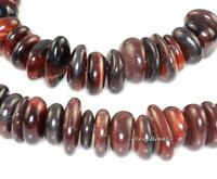 """MAHOGANY RED TIGER EYE GEMSTONE RONDELLE RIVER PEBBLE 12X10MM LOOSE BEADS 15.5"""""""