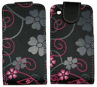 Multicolored Flowers Leather Flip Case Cover Pouch fr BlackBerry Curve 8520 9300
