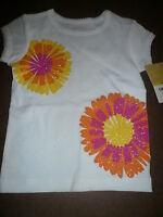 NWT~ Carters Infant Girls S/S T-Shirt, White  Sz 12 m