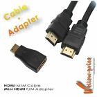 Cable and Adapter Pack - Mini-HDMI to HDMI M/F Adaptor Coupler + 30FT HDMI Cable