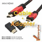 Valued Mini-HDMI 2 PCS Pack - Adaptor + 6FT Cable, Type A to C HD Quality