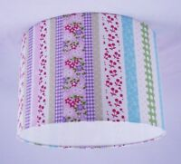 "14"" Lampshade Handmade in UK - Laura Ashley Clementine Stripe Pink Fabric"