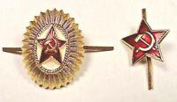 Original Soviet Russian Army Red Star Military Cap Hat Badges x 2 USSR Militaria