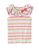 GYMBOREE FAIRY GARDEN MULTI COLOR STRIPE RUFFLE S/S TEE TOP 3 5 6 7 8 9 NWT