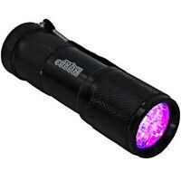 HQRP 9 LED UV 365 nM Ultra Violet Blacklight Flashlight TORCH LIGHT + UV Meter