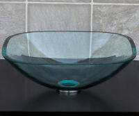 Bathroom Tempered Glass Vessel Sink Natural Clear Square  with Free Pop Up Drain