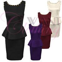 Women Ladies Spike Stud Neck Peplum Frill Dress V Back Skirt Top Bodycon Dresses