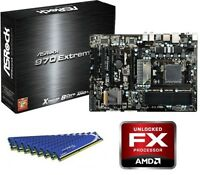 NEW AMD FX-4100 QUAD CORE X4 CPU 970 MOTHERBOARD 8GB DDR3 MEMORY RAM COMBO KIT