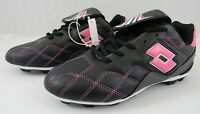 LOTTO ITALIAN SPORT DESIGN Girls Kids Pink Black Soccer Cleats - SIZE 12 - NEW!