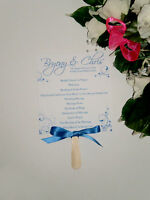 10 Personalised Wedding Fan Programs Order of Services Order of the Day Blue
