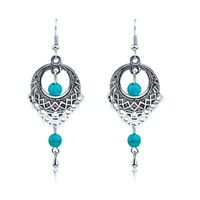 Vintage Jewellery Long Turquoise Drop Dangle Earrings Teardrop Shape E90