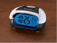 Talking Alarm Clock w/ Time and Temp, Travel Size Alarm Clock Blue Backlight