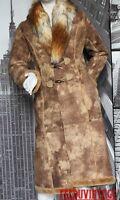 pur vintage manteau long morgan marron beige col fourrure synthetique t 38 tbe
