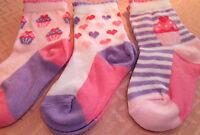PACK OF 3 PAIRS  BABY GIRLS SOCKS CUPCAKE DESIGN  3 SIZES
