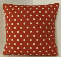 NEW SINGLE CUSHION COVERS SPOTTED RETRO 60s STYLE RED WHITE POLKA DOT  SPOTS