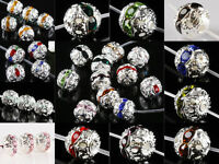 Wholesale Crystal Rhinestone 6mm 8mm 10mm Round Ball Flower Spacer Beads Finding