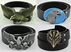 Animal Eagle Motocycle Skull Rider Western Big Buckle Mens Genuine Leather Belt