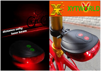 FJ0002 Bike Cycling Bicycle Laser Beam LED Flash Safety Rear Tail Light Lamp