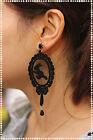 orecchini in pizzo macrame neri pendenti artigianali con strass e punto luce