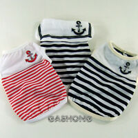 Dog&Cat Clothes Sailor Tank Tops Navy Anchor Embroidered Shirts_A314