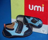 Umi Boys Puggle Blue Leather Pre-Walkers Pram Shoes Eur 17 UK 1.5 0-6 months BN