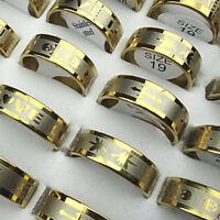 30PCS Hot Sell Wholesale Jewelry Lots Gold Top Stainless Steel Fashion Mix Rings