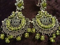 TAXCO MEXICAN STERLING SILVER PERIDOT FILIGREE BEADED BEAD EARRINGS MEXICO