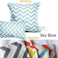 "1x SkyBlue&White Chevron Cushion Covers Striped Zig Zag/Pillow Cover 18""x45cm"