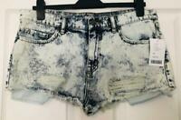Urban Outfitters BDG Denim Shorts Hotpants UK 12 30W Acid Wash Ripped Blue Torn